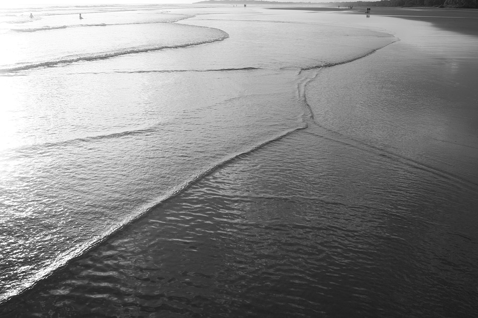 Art, Sea, Water, Beach, Landscape, Black And White