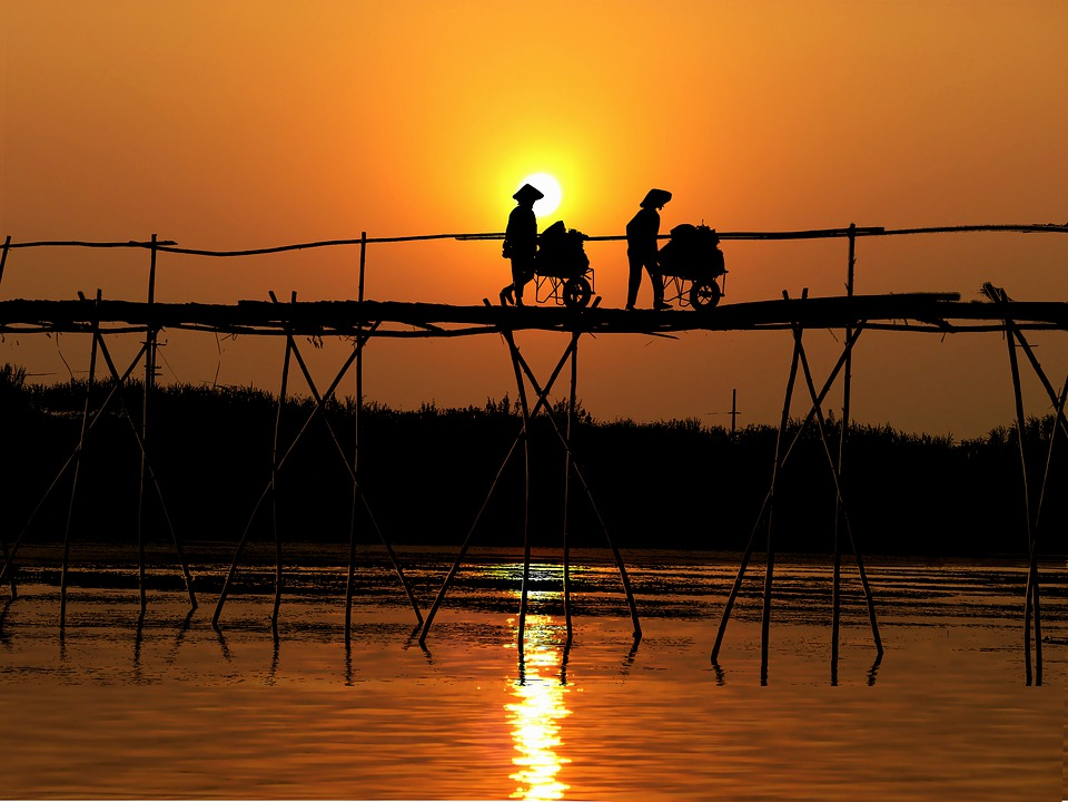 Sunset, Asia, Bridge, Peasantry, Landscape, Sky, Nature