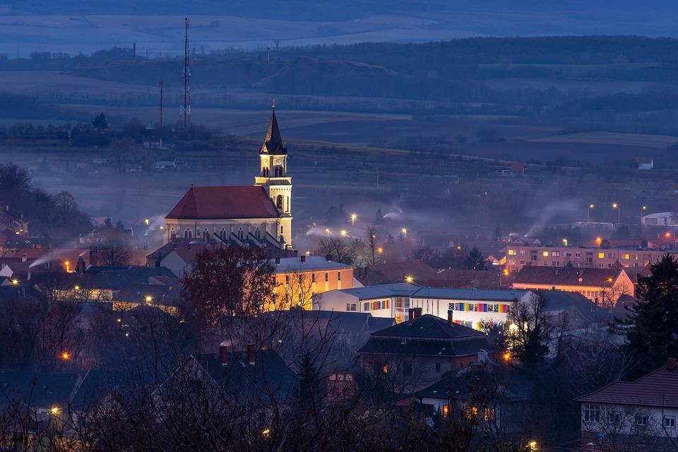 Landscape, Church, City, Smoke, Blue