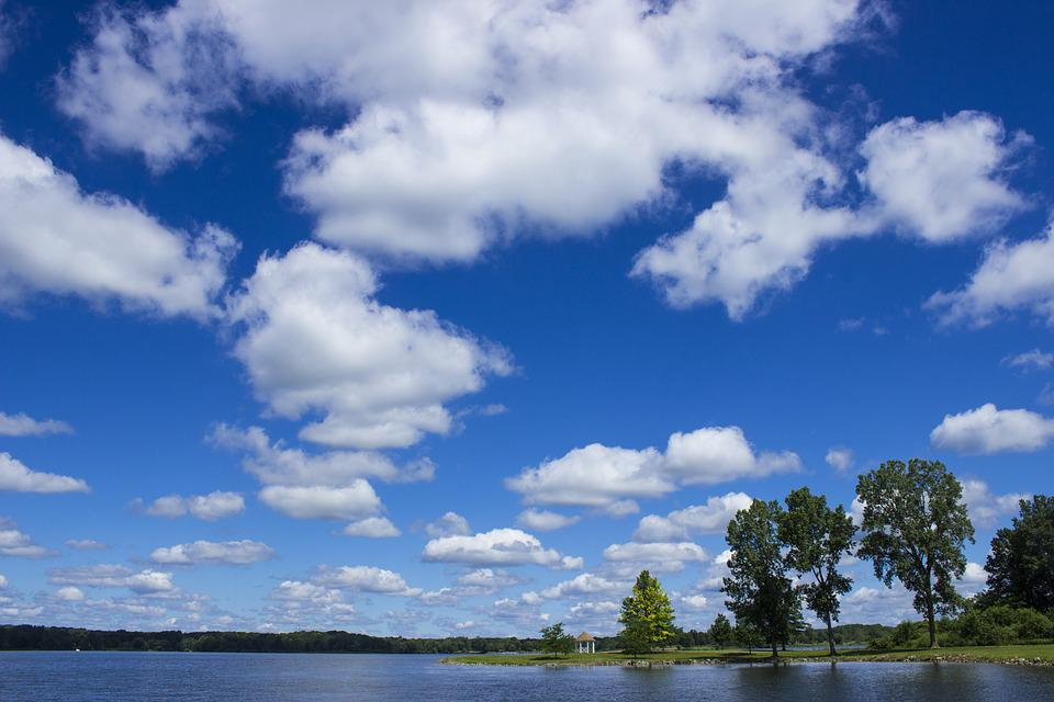 Summer, Clouds, Lake, Landscape, Scenery, Outdoor, Blue