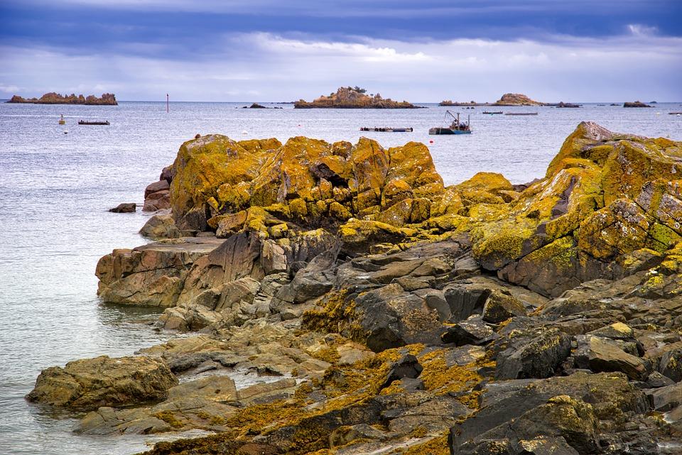 Landscape, Seaside, Sea, Rock, Boat, Sunset, Summer