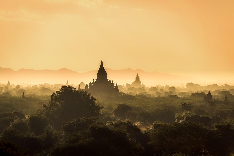 Myanmar, Burma, Landscape, Sunrise, Morning, Haze, Mist