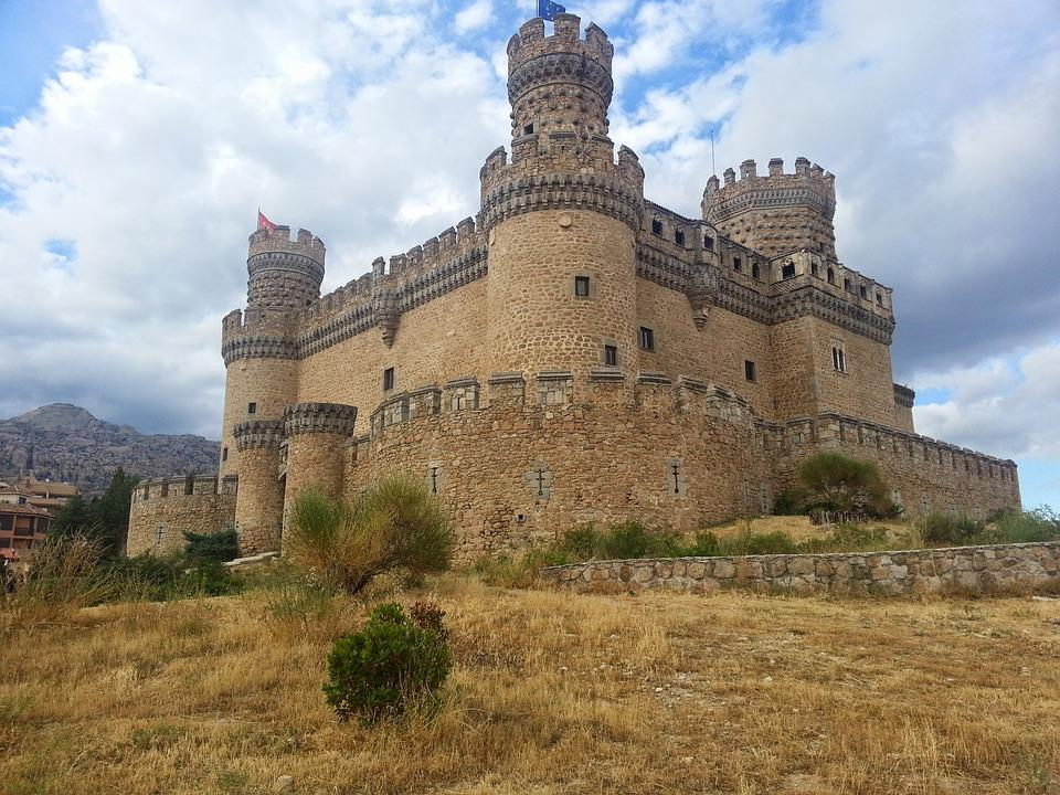Castle, Manzanares, Madrid, Landscape, Architecture