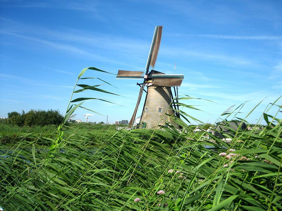 Windmill, Netherlands, Channel, Landscape