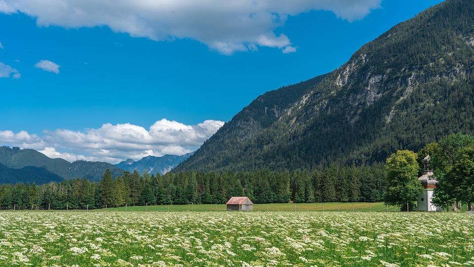 Landscape, Mountains, Sky, Clouds, Meadow, Chapel