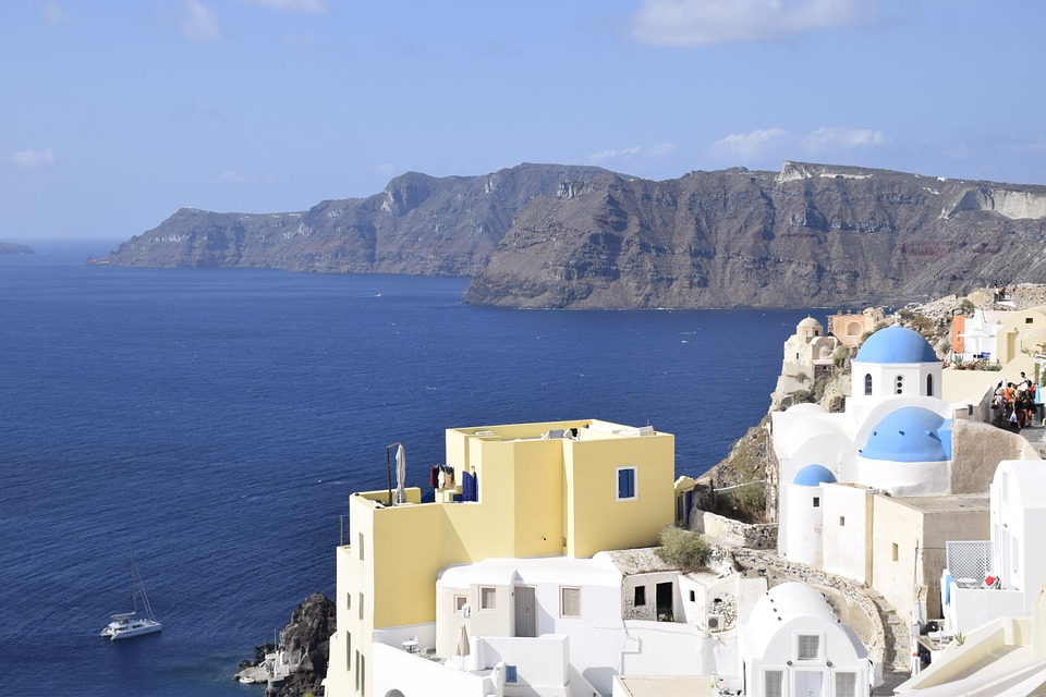 Santorini, Greece, Sea, Blue, Landscape, City