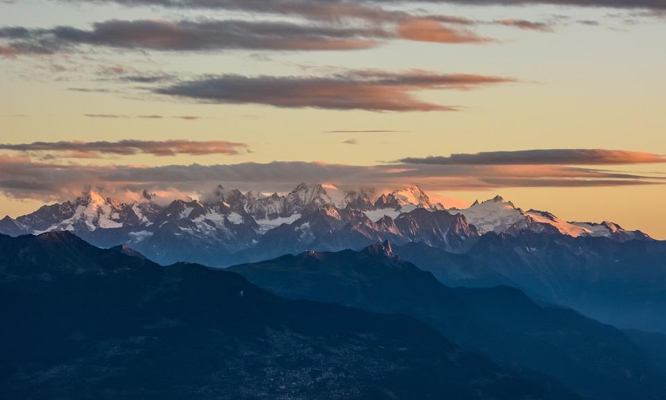 Mountains, Landscape, Sky, Clouds, Twilight
