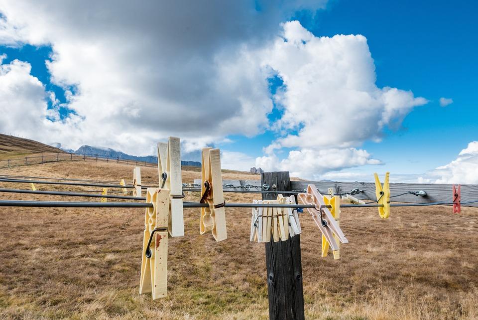 Clothespins, Clothes Line, Clouds, Nature, Landscape