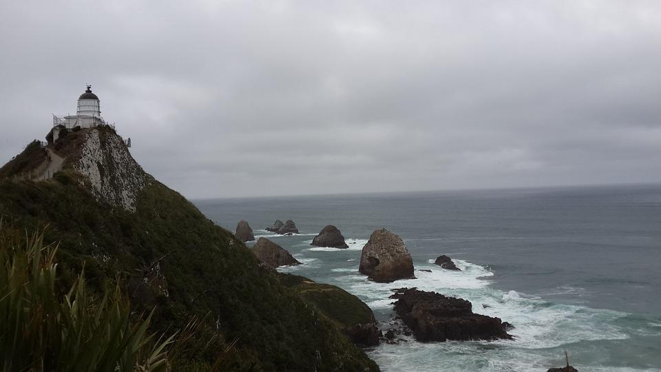 New Zealand, Sea, Light House, Landscape, Clouds