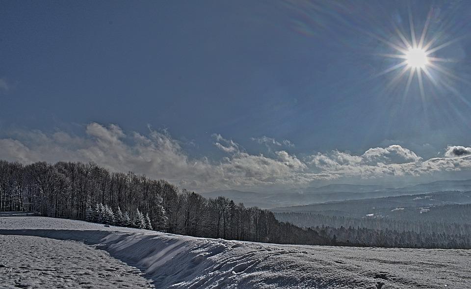 Landscape, Mountains, The Sun, Winter, Sky, Clouds