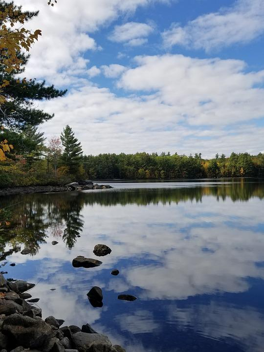 Lake, Reflection, Clouds, Maine, Sky, Landscape, Water