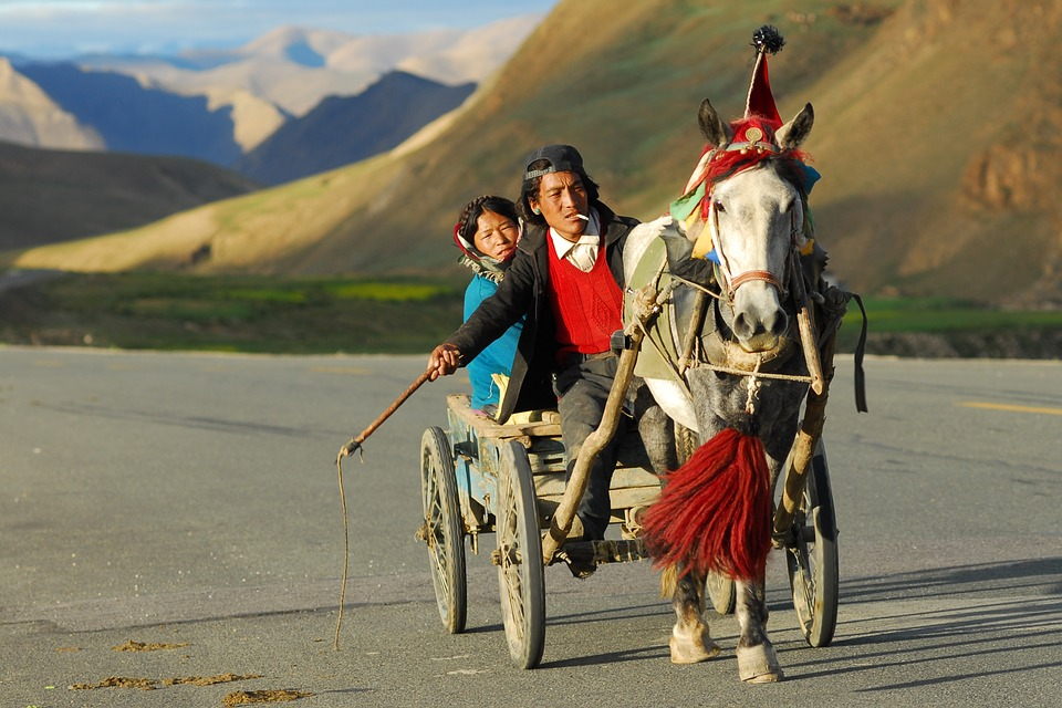 Tibet, Transport, Landscape, Coach
