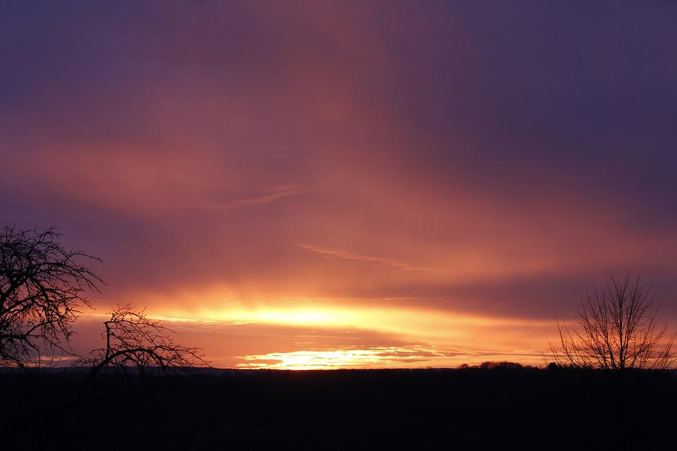 Sun, Sunset, Landscape, Sky, Colorful, Yellow, Orange
