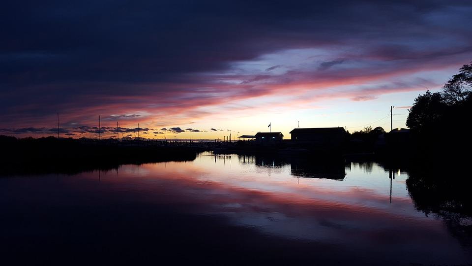 Clinton, Connecticut, Harbor, Sunset, Landscape, Boat