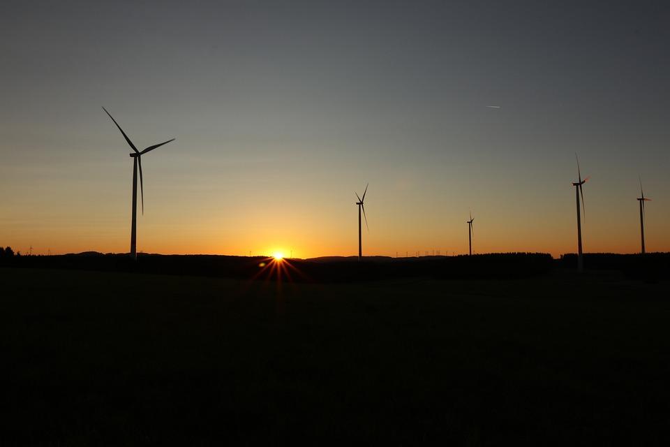 Sunrise, Dazzling Star, Wind Turbines, Mood, Landscape