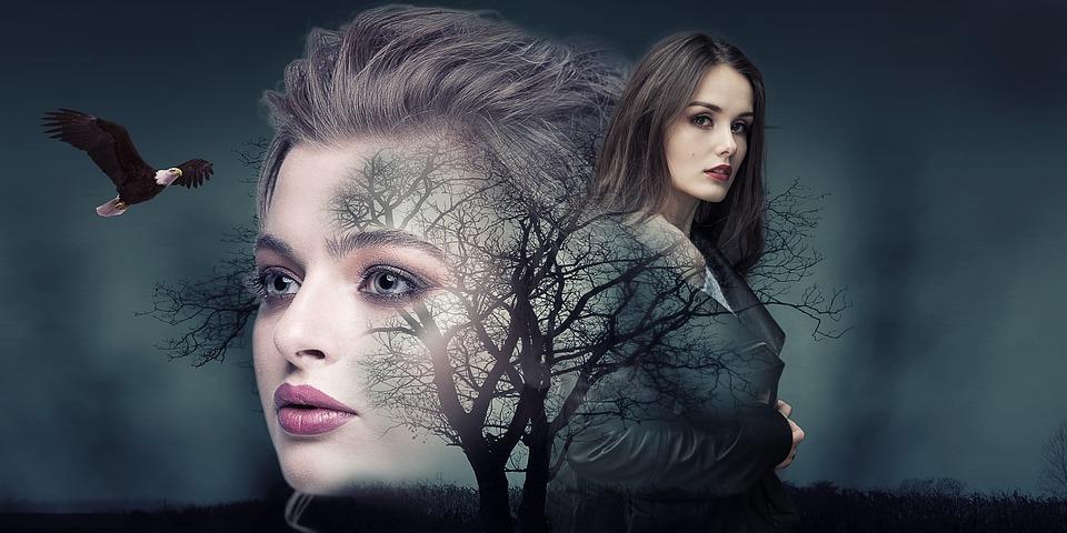 Manipulation, Woman, Landscape, Tree, Eagle