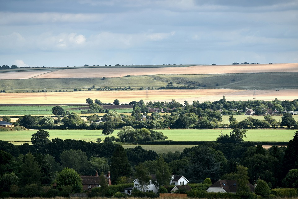Landscape, Rolling Hills, Countryside, England, Green