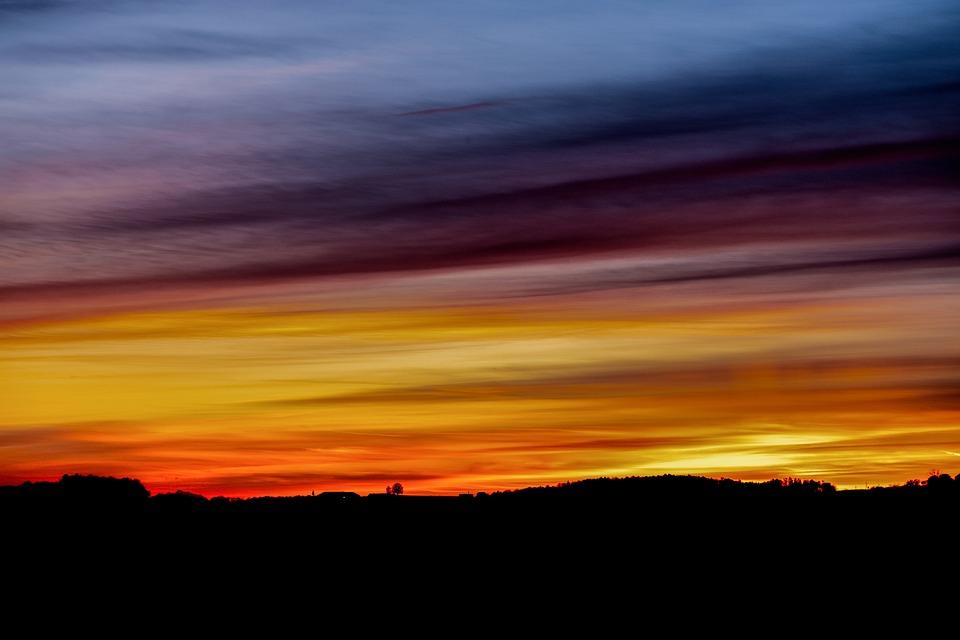 Sunset, Silhouette, Landscape, Dusk, Twilight, Evening