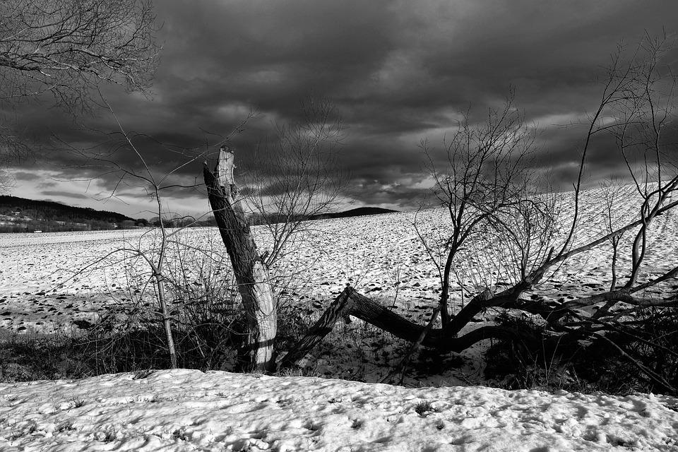 Landscape, Clouds, Field, Snow