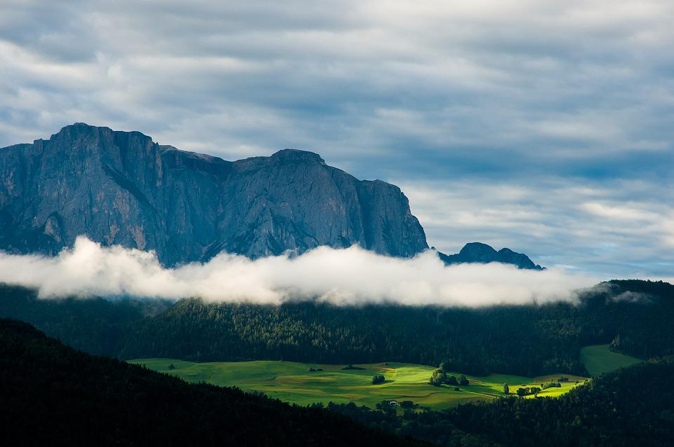 Mountains, Valley, Fields, Meadow, Clouds, Landscape