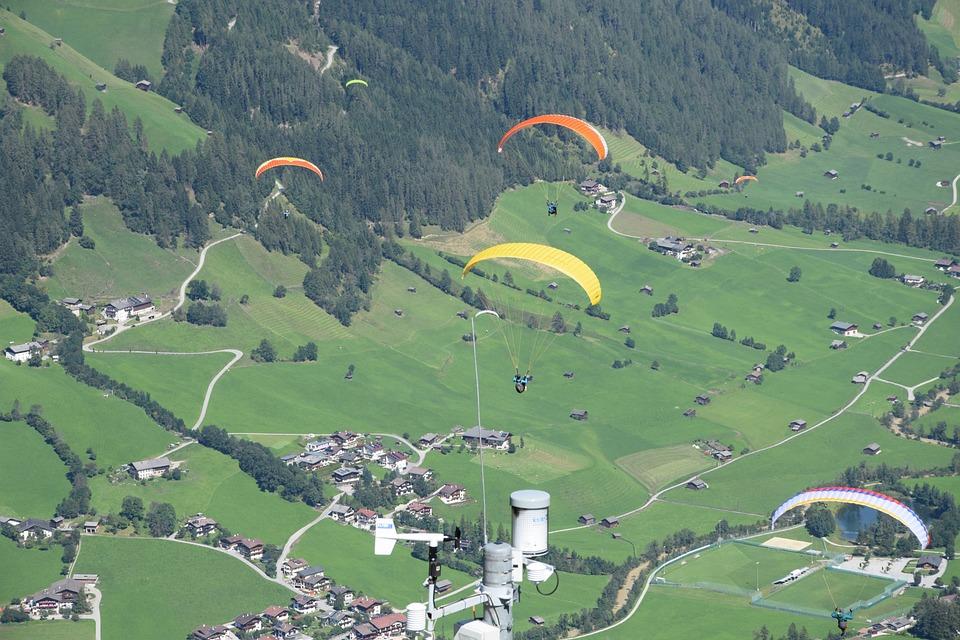 Umbrellas, Flight, Paragliding, Sports, Landscape