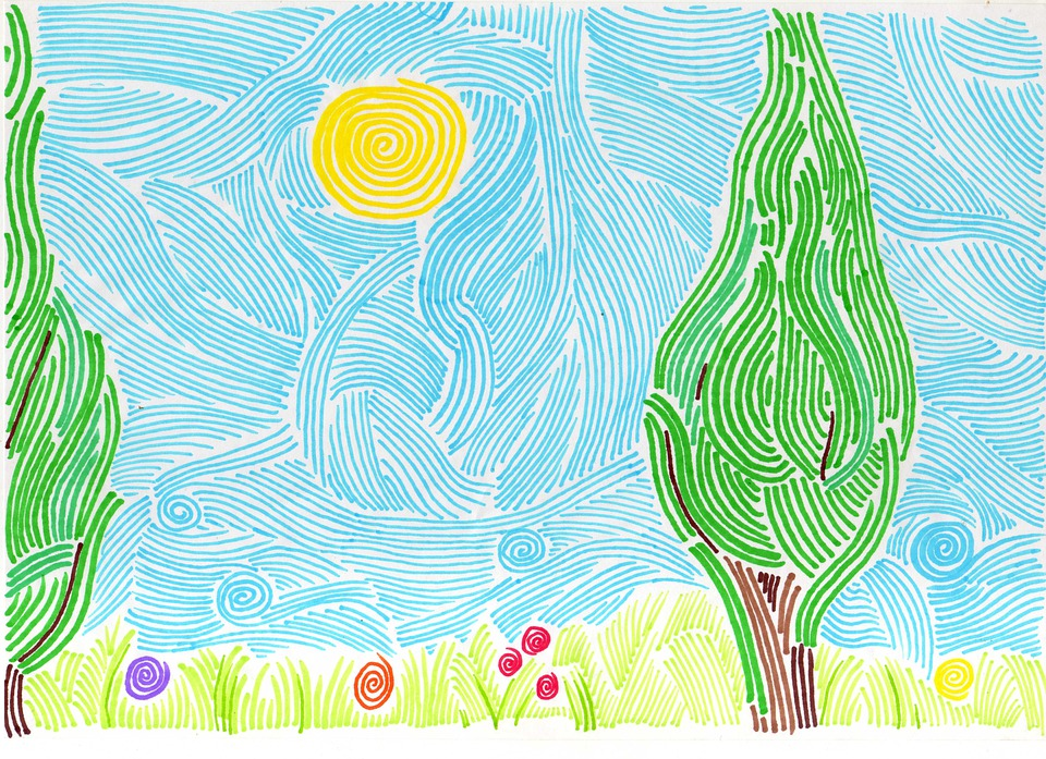 Drawing, Landscape, Sky, Lines, Tree, Grass, Flowers
