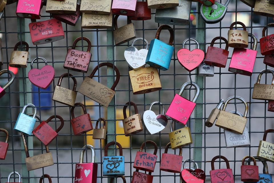 Love Locks, Landscape Format, Wire Mesh, Padlock, Love