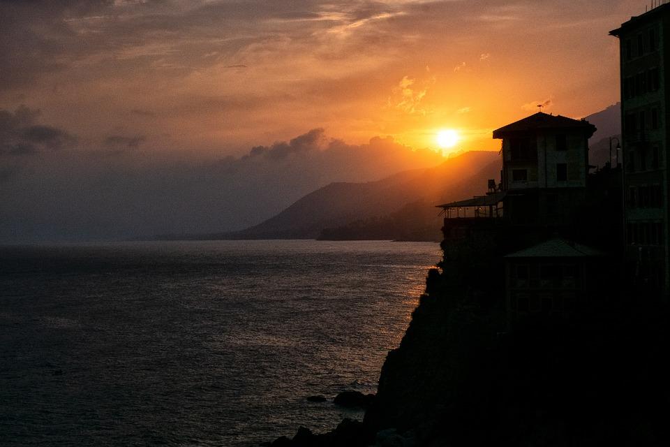 Recco, Sunset, Liguria, Genoa, Italy, Landscape, Clouds