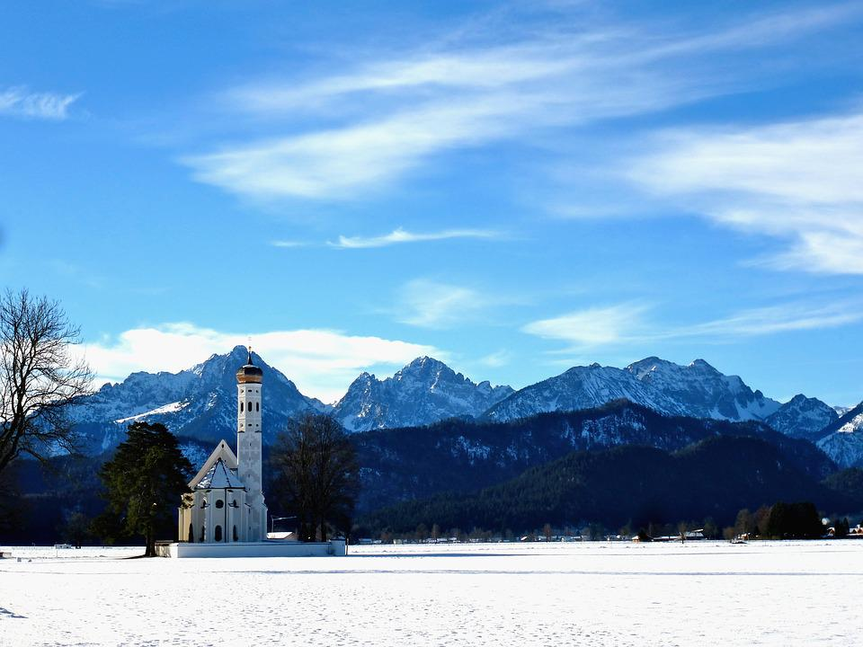Germany, Church, Landscape, Mountains, Bavaria