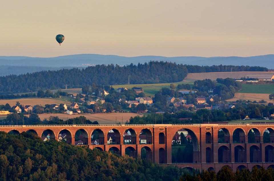 Viaduct, Go Balloon, Evening, Landscape, Lighting