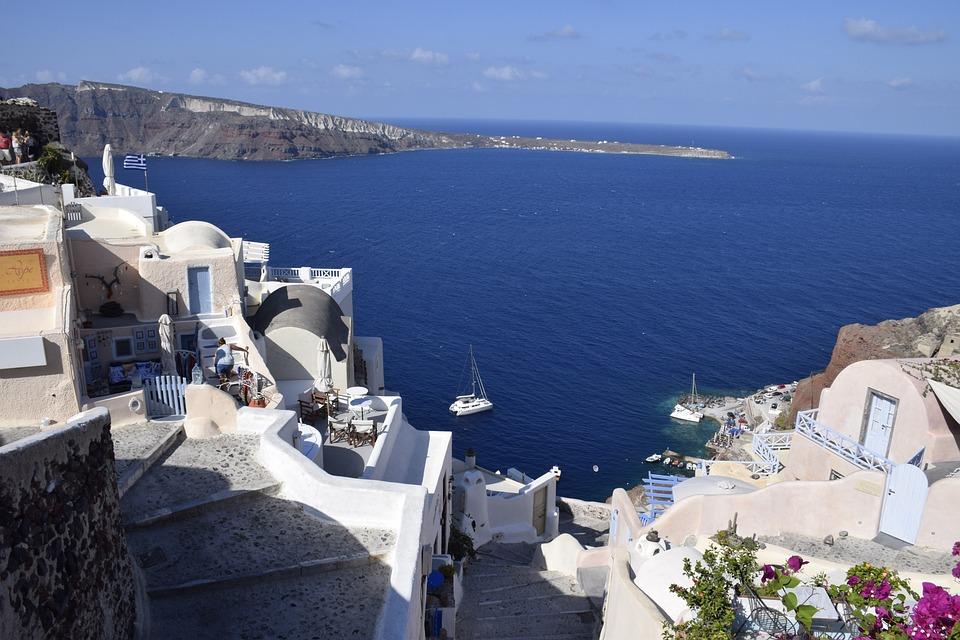 Santorini, Greece, Sea, Blue, Landscape, City