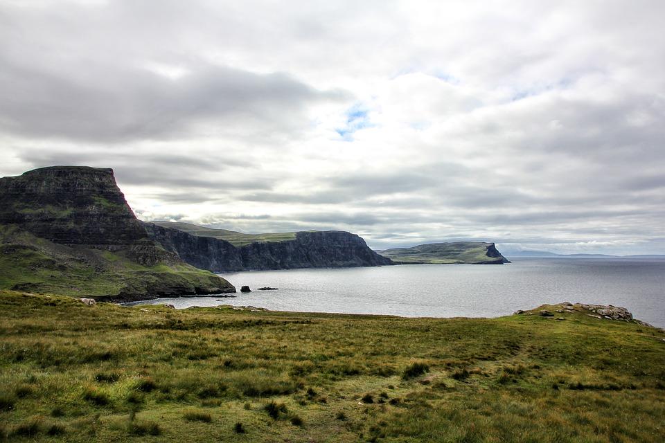 Scotland, Coast, Hebrides, Sea, Landscape, Rock, Clouds