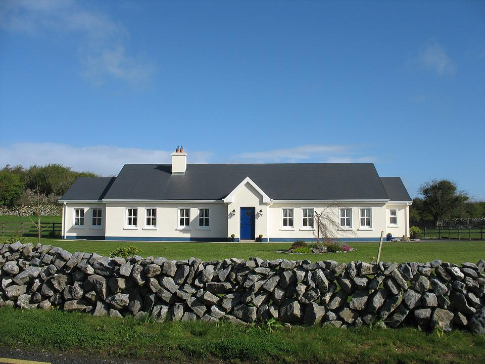House, Ireland, Landscape, Stone Wall