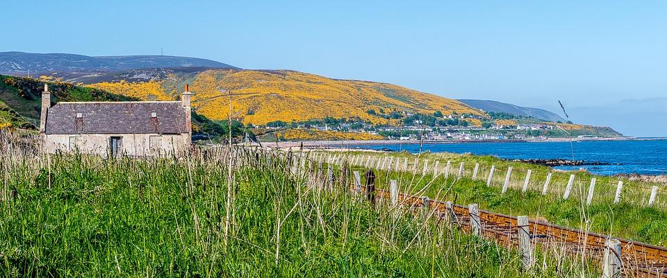Landscape, Sea, Gorse, Yellow, Rails, Hut, House, Water