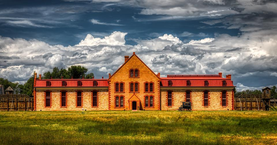 Wyoming, Territorial Prison, Jail, Fort, Landscape, Sky