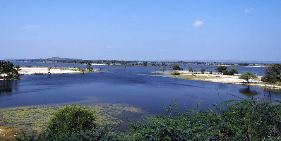 Krishna, River, Backwaters, Karnataka, India, Landscape