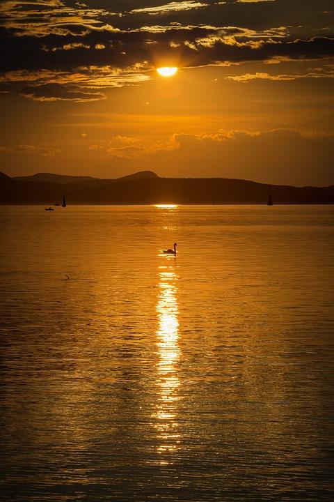 Lake Balaton, Sunset, Nature, Lake, Aranyhíd, Landscape