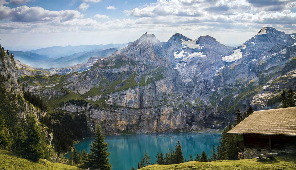 Mountains, Lake, Bergsee, Haus Am See, Landscape