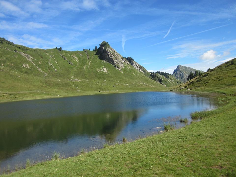 Haute-savoie, Mountain, Lake, Water, Landscape, Alps