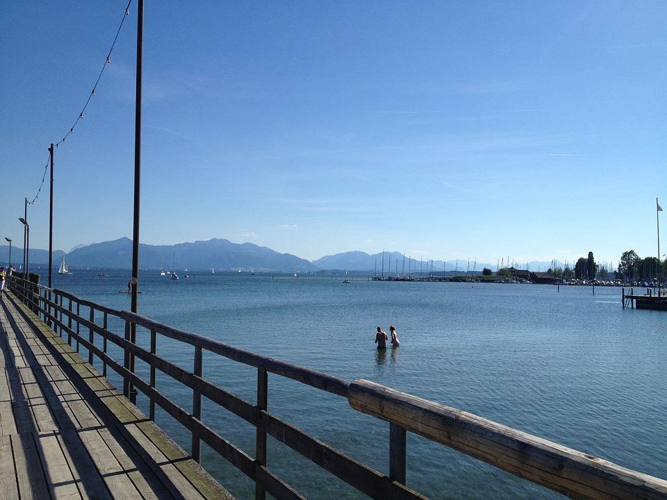 Lake, Mountains, Landscape, Chiemsee, Seebruck, Swim