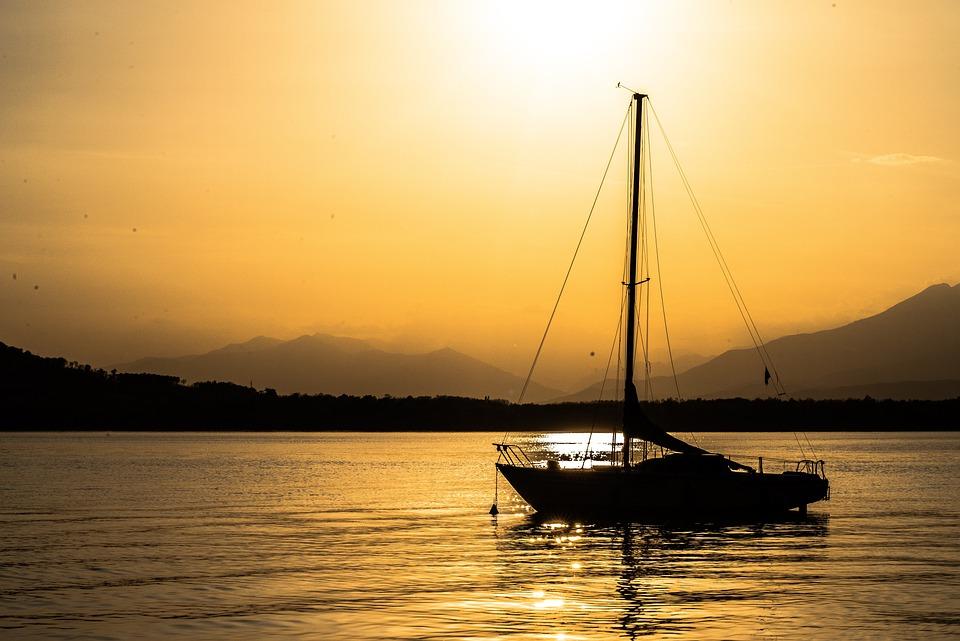 Lake, Sunset, Boat, Landscape, Summer, Nature