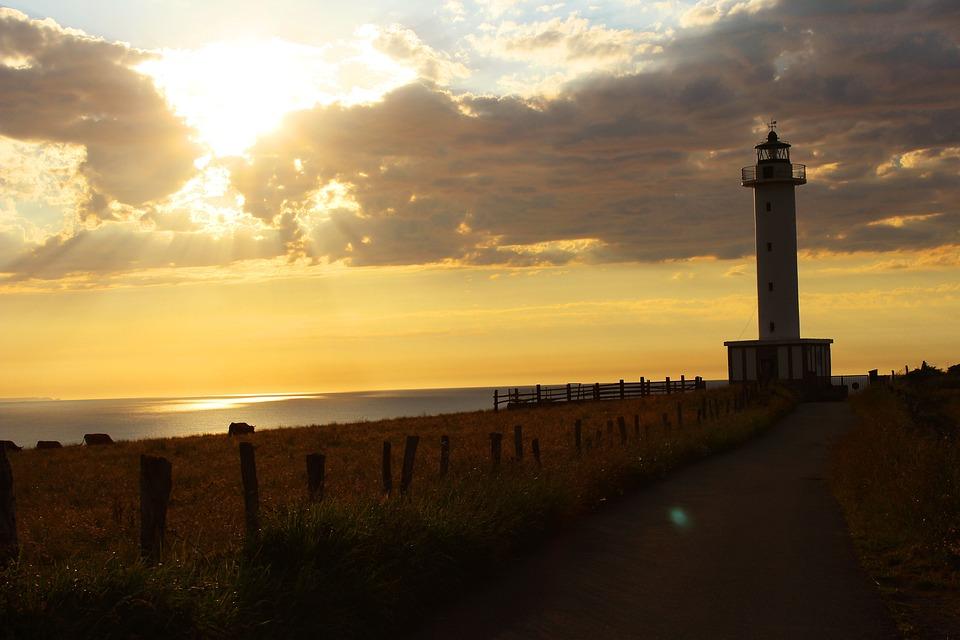 Sea, Lighthouse, Sunset, Costa, Landscape, Light
