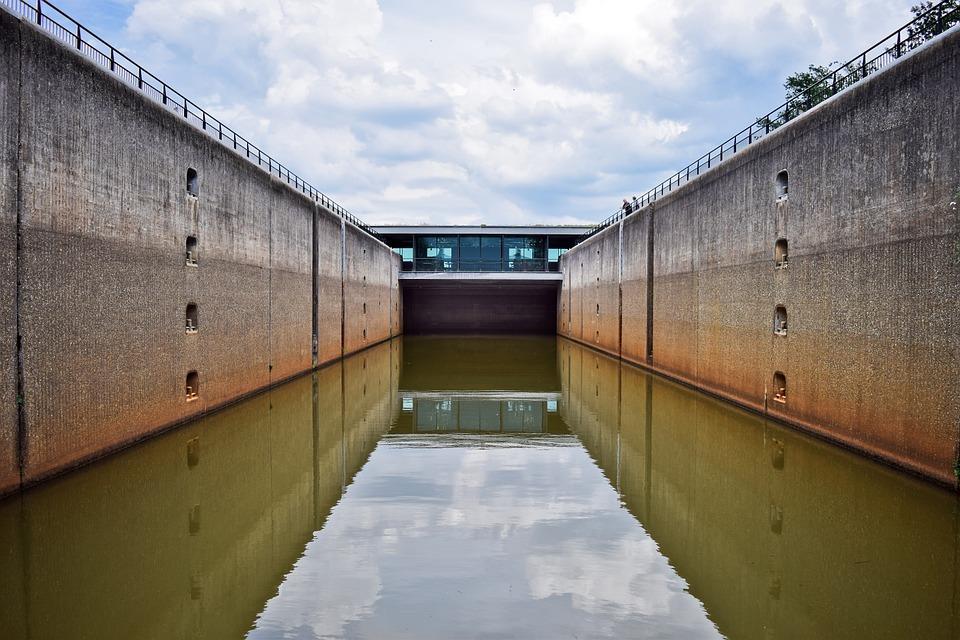 Water, Lock, River, Nature, Landscape, Barrage