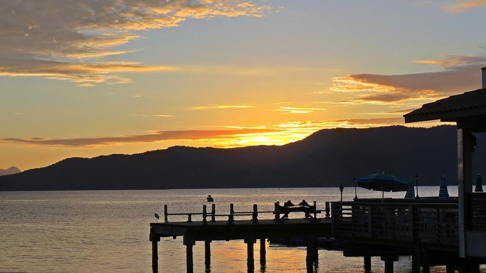 Sunset, Mar, Widescreen, Landscape, Restaurant, Clouds