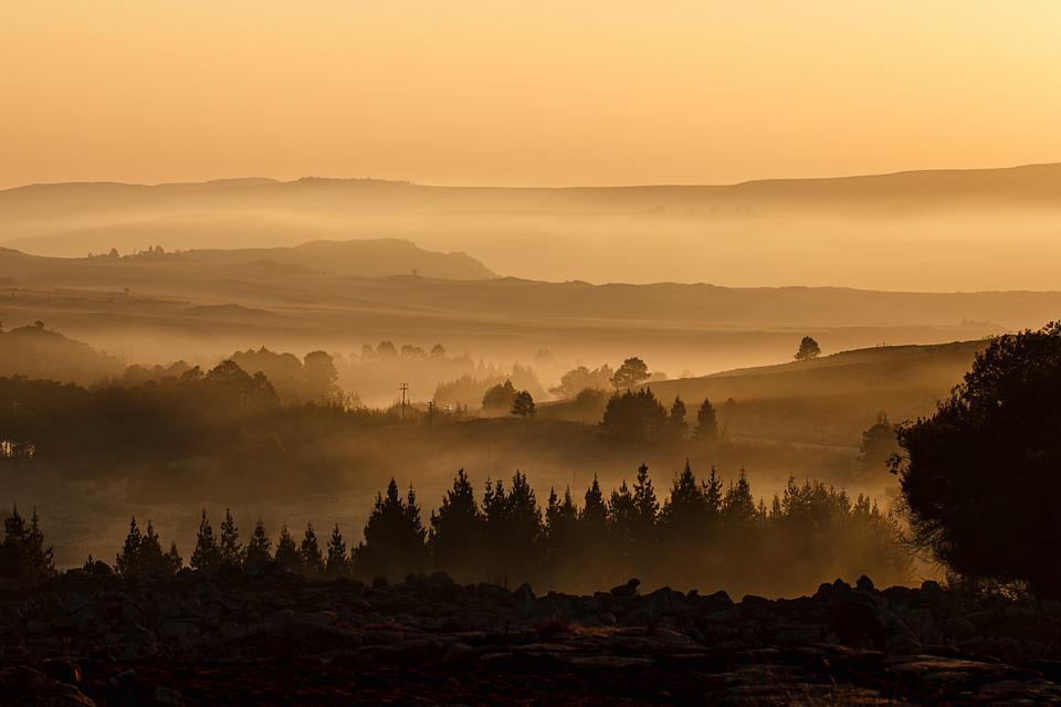 Landscape, Valley, Mist, Misty, Mountain, Sunrise, View