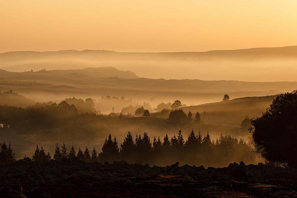 Landscape, Valley, Mist, Misty, Mountain, Sunrise, View