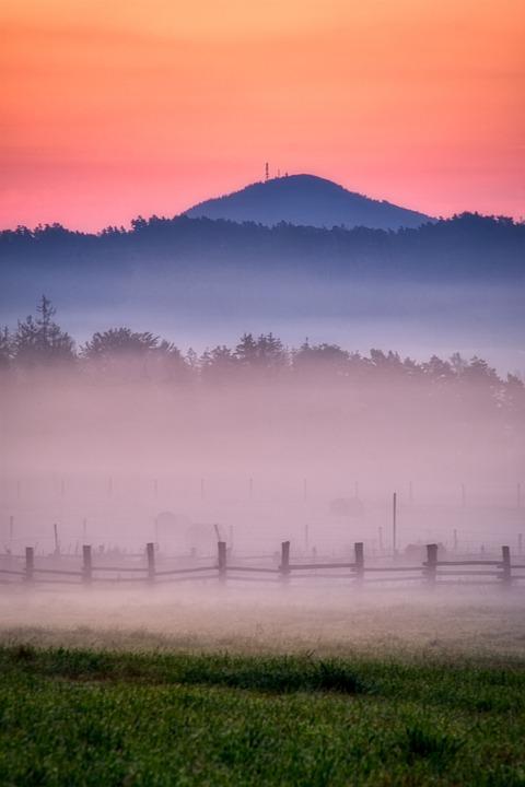 Sunrise, Fog, Landscape, Mist, Morning, Dawn, Twilight