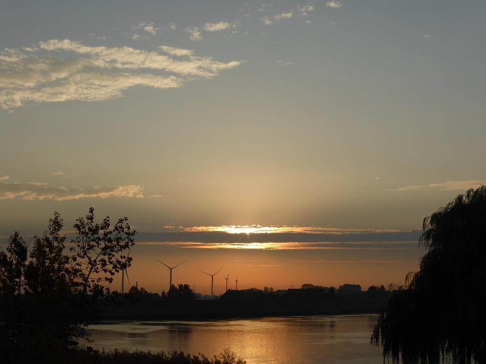 Morning, Sunrise, Elbe, Hamburg, Landscape, Nature