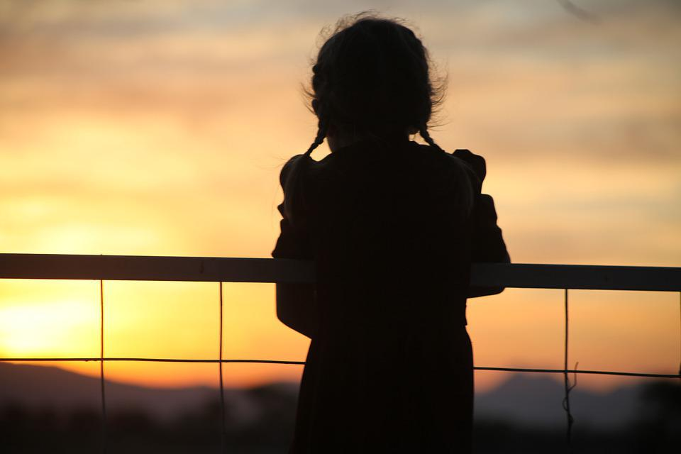 Sunset, Child, Evening, Morning, Fence, Landscape