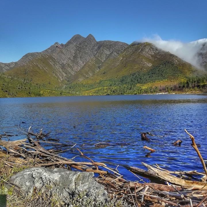 Water, Reservoir, Mountain, Landscape, Clouds, Peak